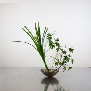 2種のグリーンの葉に、カラーピカソを添えて