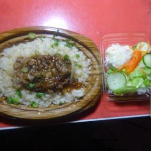 夕飯、ビーフガーリック弁当でした。