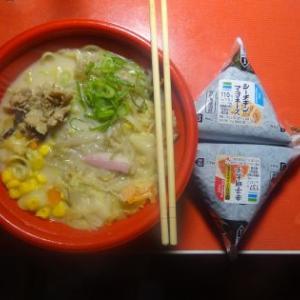 夕飯、お惣菜、ちゃんぽんでした。