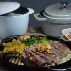ストウブグリルで「ステーキとグリル野菜」