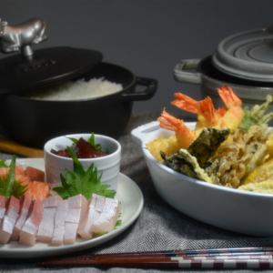 ストウブで「天ぷら」とお刺身の晩ごはん