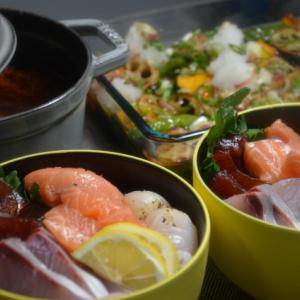 ストウブで「揚げ浸しと海鮮丼」