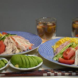 ストウブで蒸し鶏で冷やし中華の晩ごはん