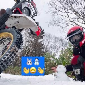 雪でも林道ツーリング!うさぎ雪だるま作成動画