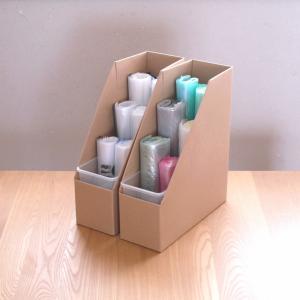 フリーザーバッグは立てる収納でストレスなし!無印のファイルボックスに、100均収納グッズがピッタリ!