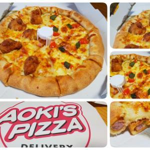 べらうま暴れん坊チキン&フレッシュマルゲリータ(ハーフ&ハーフ) in アオキーズ・ピザ