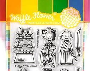 カモさんデザインのスタンプで、日本テーマのカード作り