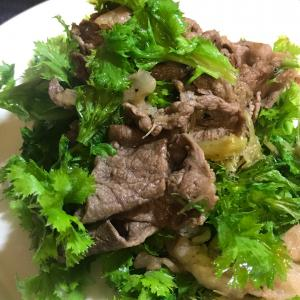 牛肉とベビーコーンのヒゲサラダ わさび菜使用