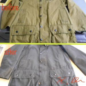 IWASHは、日本で唯一オイルドジャケットのオイル除去と染め直しが出来る店なんですよ。