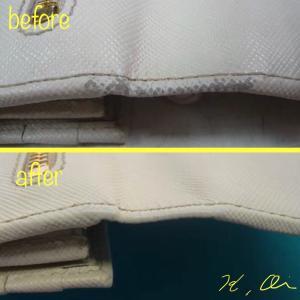 プラダの財布のリメイクと色ハゲの修正