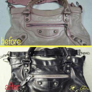 バレンシアガのバッグの染め直し 色変え 染め替え
