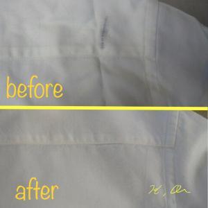 シャツに付いたショルダーバッグの革の色移りのシミ抜き