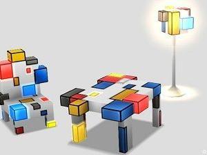 【家具】ピカピカブロック家具たち、木箱セット、壁かけ布袋