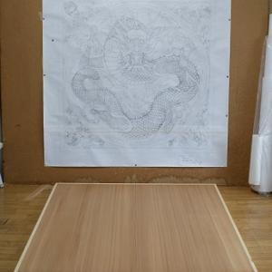 大垣祭り・中町 布袋軕 天井画(天井絵)制作〈その6〉、転写から本画・骨描きへ