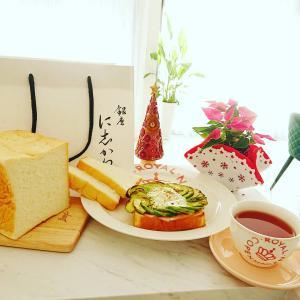 朝ごはんティータイム(^-^)はに志かわさんの食パン〜(^-^)