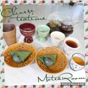 久しぶりの中国茶ティータイム〜(^-^)は、くずまんじゅうで(^-^)v