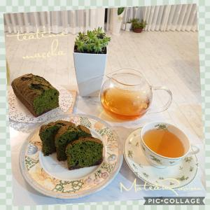 抹茶パウンドケーキに ダージリンファーストフラッシュ(^-^)