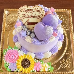 紫尽くしケーキに、バラと向日葵を盛り込んで…♡