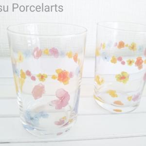 カラフルなガラスのコップと新しいキット♪ポーセラーツ