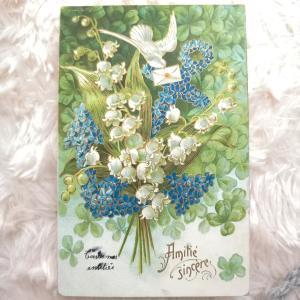 5月のお花 すずらんのアンティーク・ポストカードの新商品♪