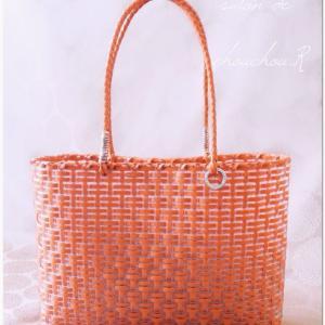 秋色オレンジでかごバッグ〜生徒様作品