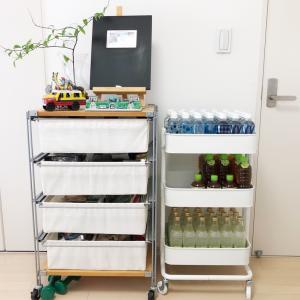 【ストックの収納】飲み物の収納はIKEAのロースコグ