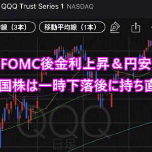 FOMC後金利上昇&円安&米国株は一時下落も持ち直すパターン!FX自動売買も影響なし!