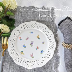 My work彩色チャイナペインティング♡マイセンの小花散らしで素敵なデザートプレートを