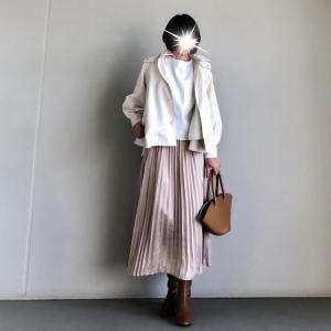 【GU】お値段以上の高見え度♡きれいめコーデに使える艶感プリーツスカート