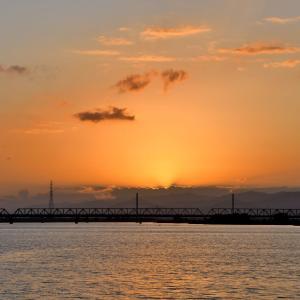 夕焼けを写す吉野川