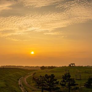 月見ヶ丘海浜公園の夕陽
