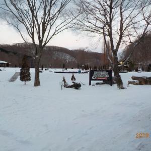 地吹雪の白河で、、、