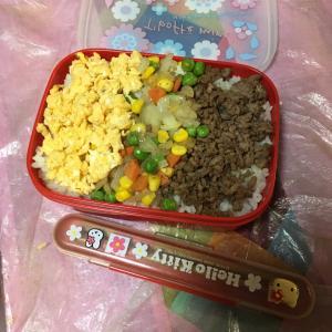 娘ちゃんリクエスト☆今日の女子高生弁当は「三色そぼろ弁当」&最新作が完成したけど再びアクシデント