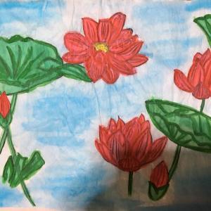 夏に咲く~水面の花~【ZARA】購入の食器をお手本に自作小説作品の表紙を描いてみました。