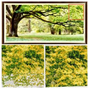 【クロスステッチ-緑大樹】27枚中2枚おわり
