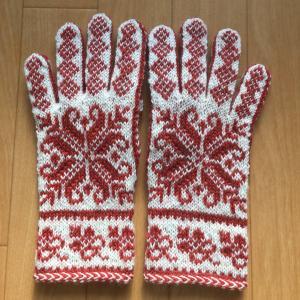 緩め 総編み込み 手袋
