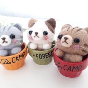 ☆羊毛フェルト☆カップに入った猫ちゃんたちが完成しました♪