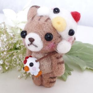 ☆羊毛フェルト☆茶トラ猫ちゃんとくっつきニワトリちゃん♪