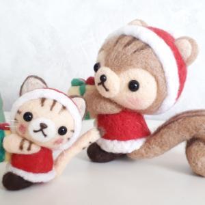☆羊毛フェルト☆茶トラ猫ちゃんのクリスマス作品♪