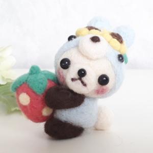 ☆羊毛フェルト☆薄いブルーのウサギパンダちゃん♪
