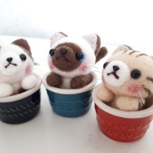 ☆羊毛フェルト☆カップ猫ちゃん3匹♪