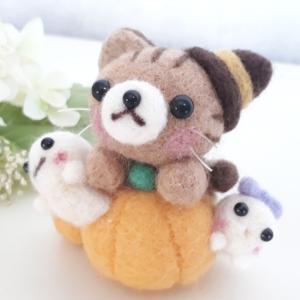 ☆オーダー品☆茶トラ猫ちゃんとオバケのハロウィン♪