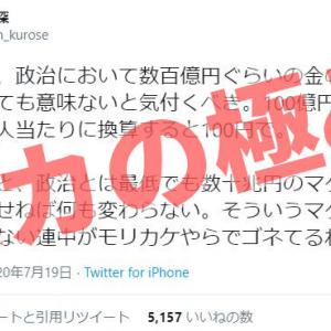 【知能欠如】黒瀬深 @Shin_kurose「政治において数百億円ぐらいの金の使い道を議論しても意味がない」←完全に頭がおかしい