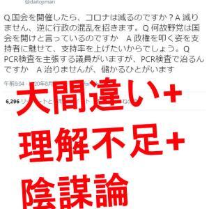 渡邉哲也 @daitojimari の超絶デタラメ主張!「国会を開くと行政が混乱する」「濃厚接触者以外のPCR検査は無駄」