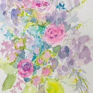 春のブーケ(水彩画)
