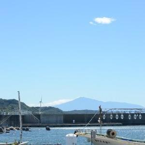 岩城漁港で。