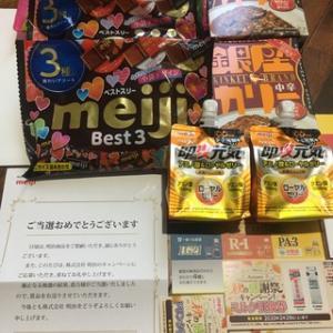 明治お菓子詰合わせ&牛乳&ヨーグルト券当選
