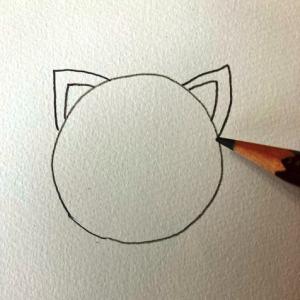 猫のイラストレッスンその1(全7回)マルと三角の耳