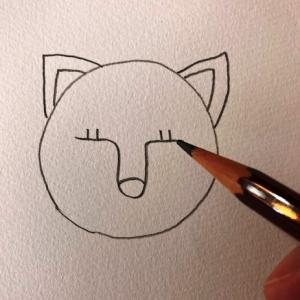 猫のイラストレッスンその2(全7回)鼻とまつ毛を描く