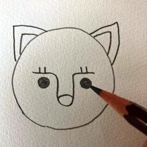 猫のイラストレッスンその3(全7回)目を描く